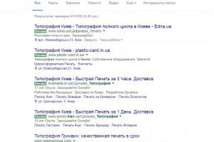 Продвижение сайта типографии greenwichua.com